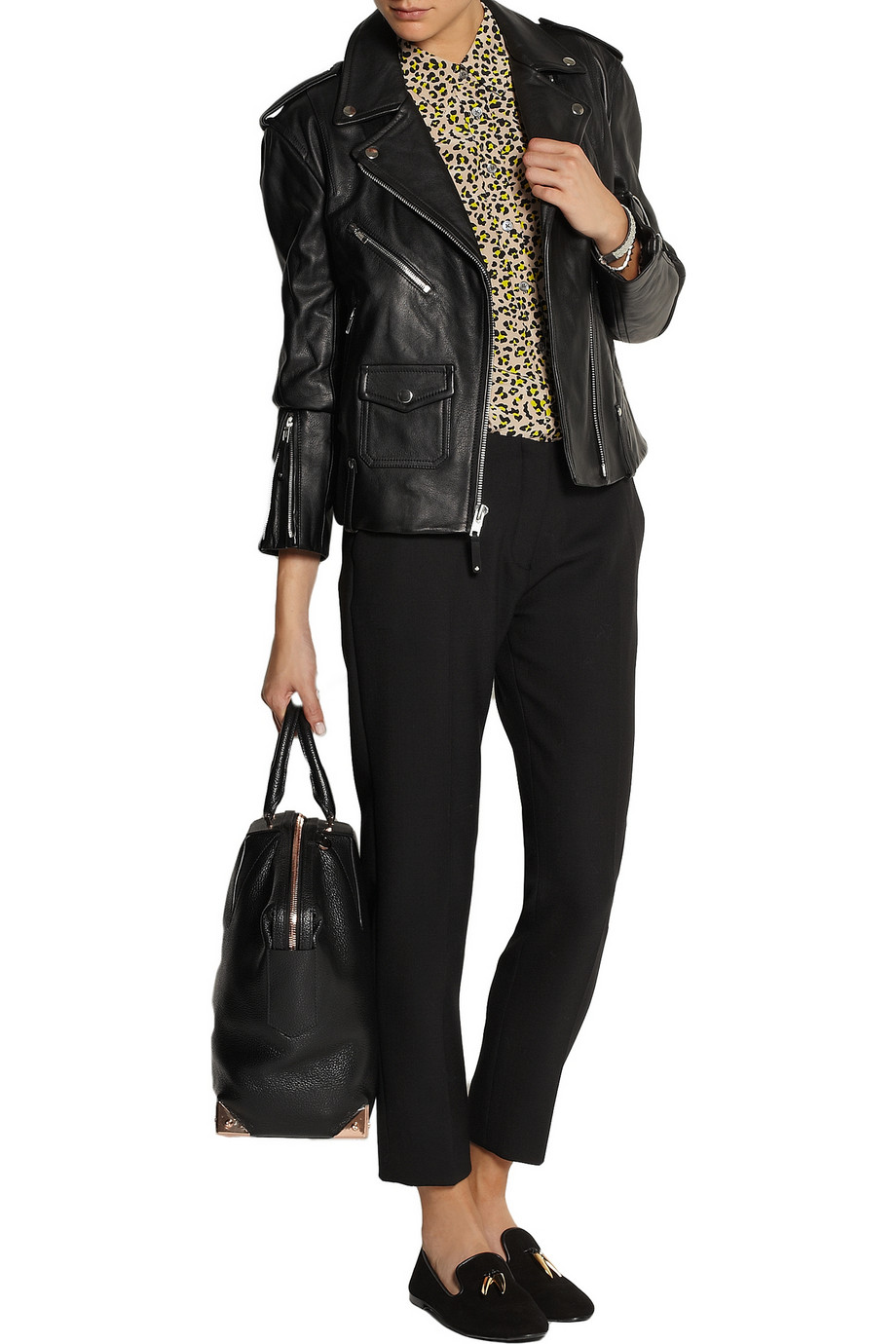 Theory Dalayan leather biker jacket – 55% at THE OUTNET.COM