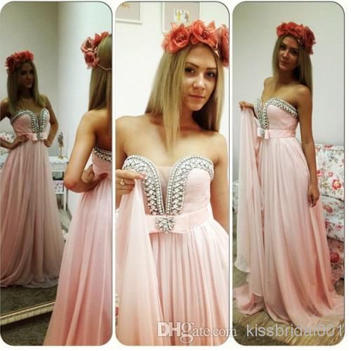 Buy nectarean pink 2014 cheap prom gowns crystal beads a line sweetheart neck zip back floor length chiffon formal long bridesmaid dresses, $95.5