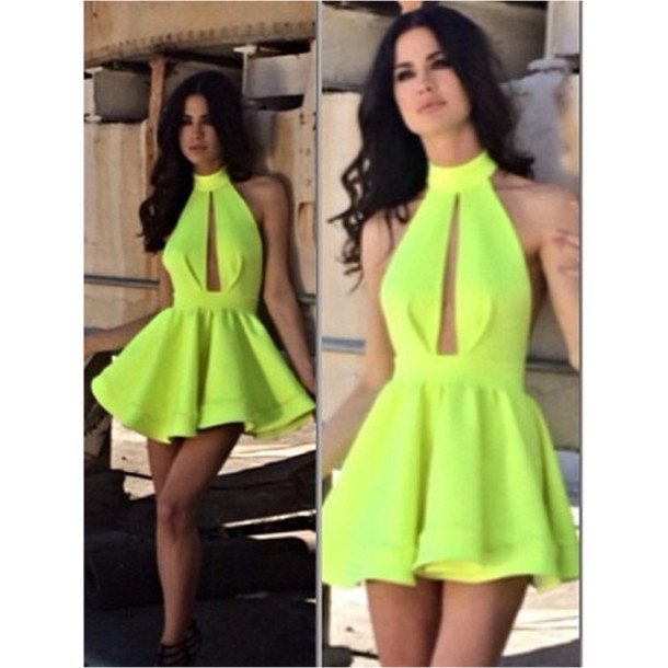 Neon Yellow Cut Out Dresses