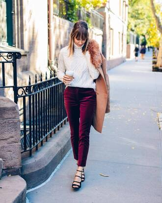 pants tumblr corduroy purple sandals sweater white sweater knit knitwear knitted sweater
