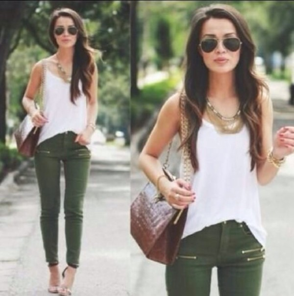 bag aviator sunglasses khaki pants zip summer outfits jeans jewels sunglasses tank top