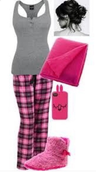 pajamas cute plaid teenagers pink grey tank top