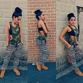 tank top,military style,pants,printed pants,flowy pants,stay fit,black and white,top,army top,black,print