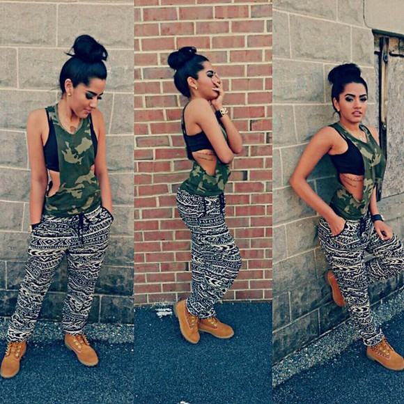 pants printed pants flowy pants stay fit, black and white, top, army top, tank top military black