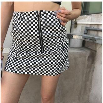 skirt girly tumblr black black and white checkered zip zipped skirt checkered skirt mini skirt