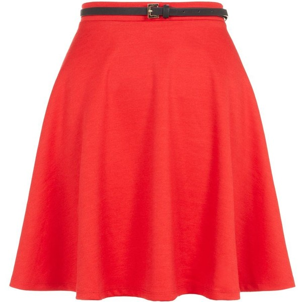 Tall Red Belted Skater Skirt - Polyvore