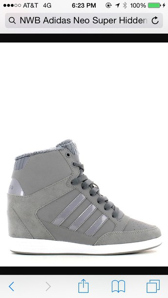 shoes, adidas grey high top sneaker wedge Wheretoget