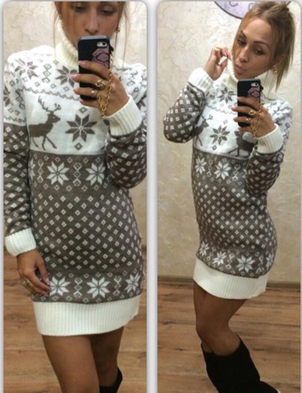 dress zefinka sweater sweater dress knitwear knitted sweater knitted dress deer christmas sweater christmas ugly christmas sweater wheretoget