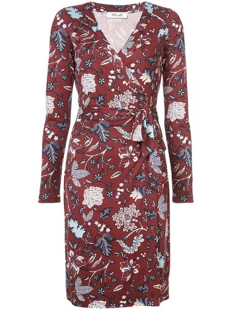 Dvf Diane Von Furstenberg dress wrap dress floral wrap dress women floral silk red