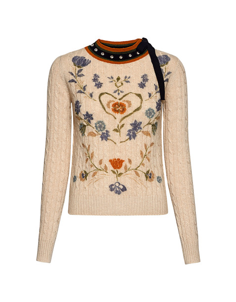 RED VALENTINO sweater bow studded floral knit