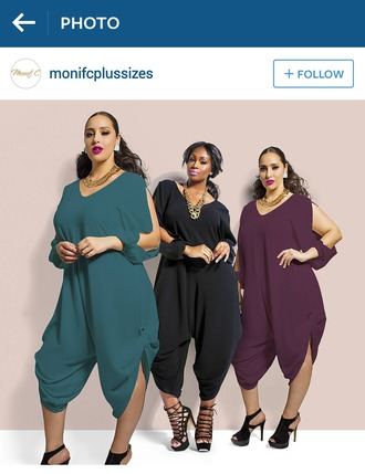 jumpsuit teal purple black curvy plus size