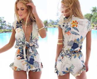 romper ayamare summer white print blue floral greay playsuit tie up london austria brooklyn blonde chloe long v cut