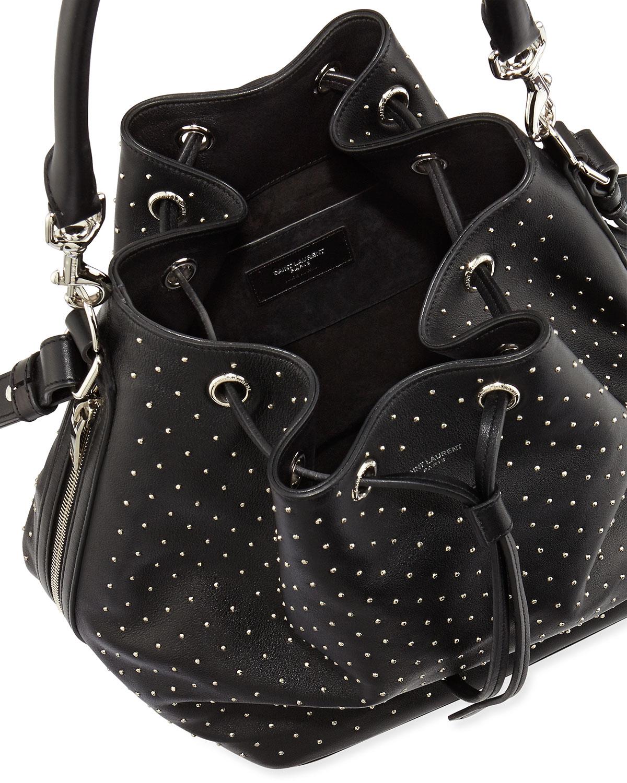 Studded medium bucket shoulder bag, black