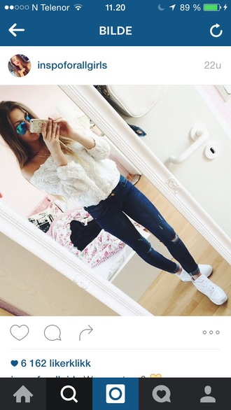 top flowers girly girl outfit summer outfits summer summer top jeans ripped jeans white white top white sweater shoes fall outfits
