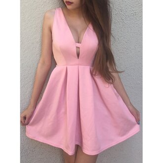 dress pink pink dress sleeveless sleeveless dress girly girl trendy girly dress plunge v neck plunge dress plunge neckline cleavage cleavage dress skater skater skirt skater dress girly wishlist girly outfits tumblr baby pink babydoll dress