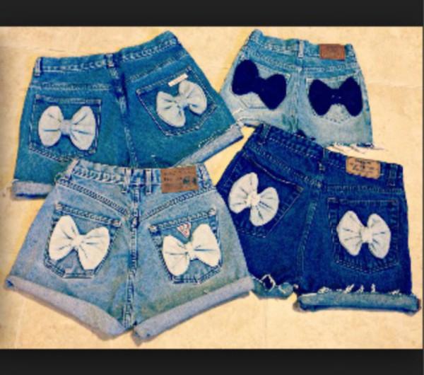 shorts denim high waisted bows