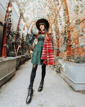dress,green,flannel scarf,brim hat,angel sleeves,black boots,lace dress