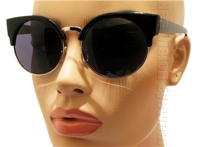 Oversized round cat eye sunglasses vintage style smoke lens black silver k20