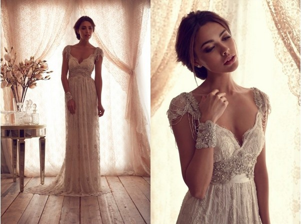 Luxury V Neck Lace Crystal Beaded Bridal Gowns With Sleeves Anna Campbell Wedding Dresses 2014-in Wedding Dresses from Apparel & Accessories on Aliexpress.com