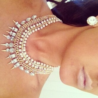 jewels pearl diamonds rhinestones gold silver white necklace jewelry
