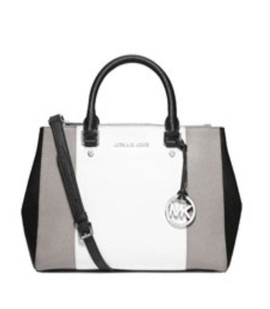 See all results for black & white michael kors handbag. MICHAEL Michael Kors Mercer Large Color-Block Leather Tote Bag, Optic White Grey Black. by Michael Kors. $ $ 38 Prime. FREE Shipping on eligible orders. Product Description Satchel premium leather handbags by Michael Kors. Made from the finest MICHAEL Michael Kors Whitney.