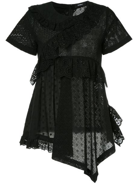 GOEN.J top ruffle women cotton black