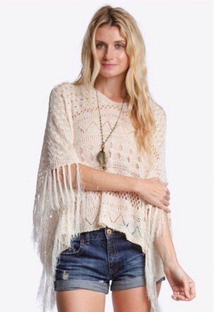 top boho shirt spring 2015 creme color fringed top fashion forward fashion spring
