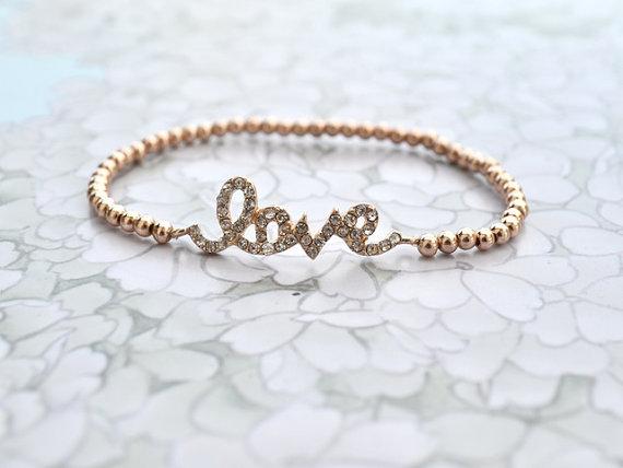 Crystal love bracelet metallic rose gold par jeneelovee sur etsy
