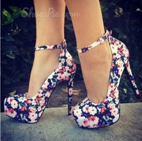 Elegant Flower Print Round Toe Ankle Strap High Heel Shoes