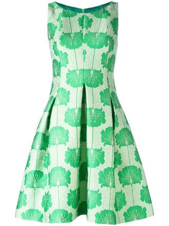 dress women jacquard silk green