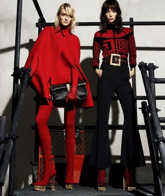 sweater versace autumn/winter fall outfits winter outfits red 70s style haute couture luxury trendy chic high end karlie kloss lexi boling model holiday season red and black black wool designer made in italy
