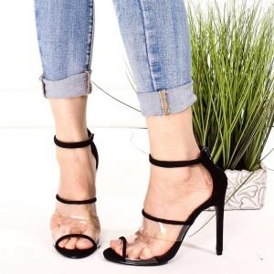 Black Clear Heels Ankle Strap Sandals