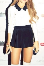 dress,white,collar,navy,skirt,blouse,high waisted,socks,ariana grande,peter pan collar,peter pan,bag,shorts,back to school,school uniform,nastygal,shirt,shoes,cute,black,black and white,top,tank top,white black arianagrande,collared,velvet,thigh highs,sweater,black skater skirt,velvet skirt,skater skirt,school girl,gala,gorgeous,vintage,uniform,set,two-piece,collered,knee high socks,bows,whole outfit,ariana grande white dress,cardigan,mini skirt,white shirt,bracelets,button up,tumblr,celebrity
