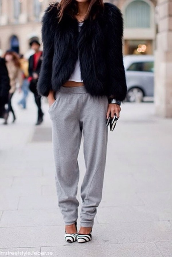 pants sweatpants loose loose coat