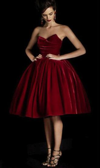 red velvet red dress velvet dress sweetheart dress sweatheart neckline kneelength knee length dress fancy formal dress velvet dress