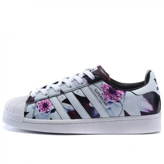 shoes adidas sneakers floral flowers cool cute trendy fashion white spring boogzel low top sneakers floral sneakers adidas superstars