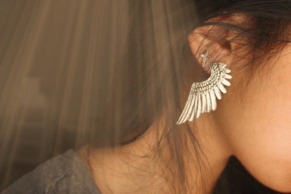 grey jewels earrings silver wings cross jewels wing gold earrings weheartit big earrings big jewelry wing earring wings earrings