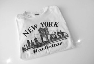 t-shirt new york city manhattan white black and white urban tumblr clothes streetstyle shirt top city shopping