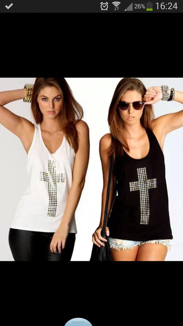 tank top noir  et blanc top debardeur black or white noir blanc croix shirt women girl girly summer top summer