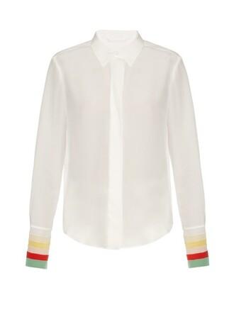 shirt rainbow silk white top