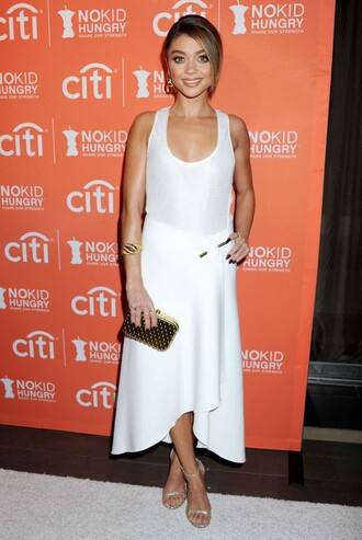 skirt top all white everything sarah hyland sandals midi skirt