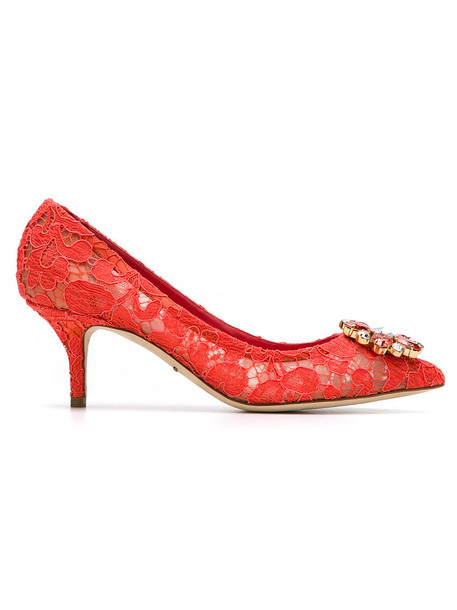 Dolce & Gabbana women pumps leather red shoes