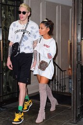 sweater,boots,suede over the knee boots,ariana grande,sweatshirt,white,casual