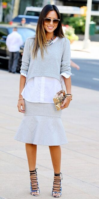 bag sandals high heel sandals lace up heels blue sandals skirt ruffle skirt grey skirt shirt white shirt top crop tops cropped sweater grey sweater sunglasses song of style top blogger lifestyle blogger clutch metallic clutch spring outfits gold clutch