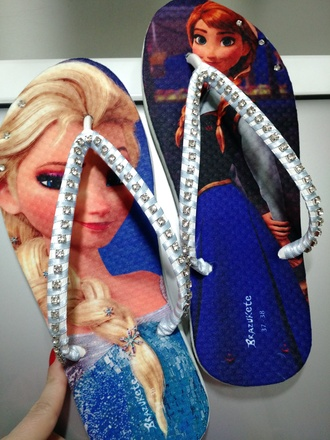 shoes anna princess disney sandals flip-flops rhinestones havaianas brazil frozen elsa