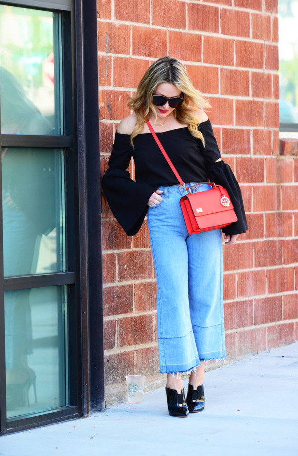 thehuntercollector blogger top shoes bag sunglasses red bag off the shoulder top black blouse mules