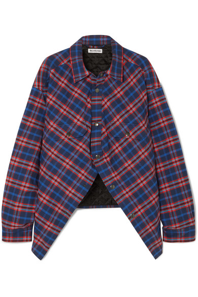 Balenciaga - Swing oversized padded checked cotton-flannel shirt