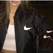 jacket,nike,black,black jacket,bomber jacket,nike jacket,nike jack,white,cute,instagram,twitter,outdoor,everyday,tumblr,vintage nike jacket,nike jacket windbreaker,black and white nike jacket
