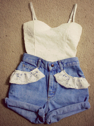 shorts shirt high waisted shorts lace white tank top lace top short denim tumblr ruffle top high waisted high waisted lace shorts ruffle shorts cute girly pretty bustier t-shirt bralette wow blouse jeans white top laced short white shorts white crop tops flowery top summer fashion styles bustier top ariana grande white crop top corset top fitted top