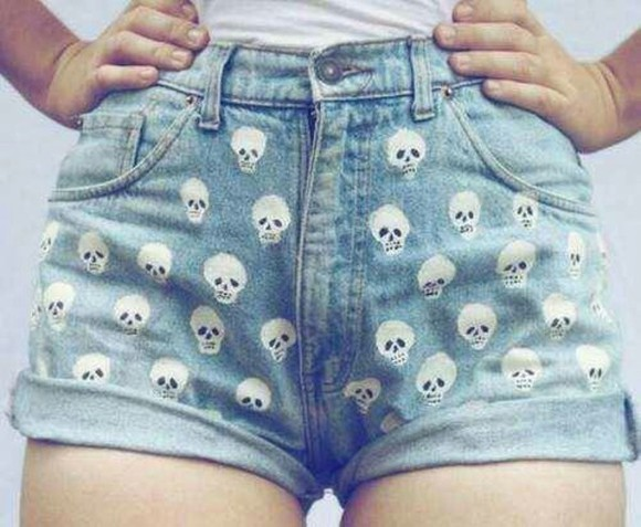 skull jeans High waisted shorts jeans, cropped, ripped, light wash, denim